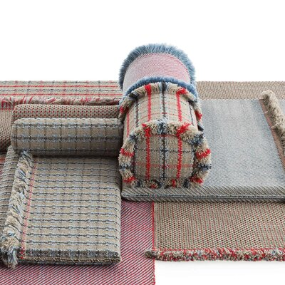 Garden Layers Tartan Outdoor Euro Pillow Color: Blue