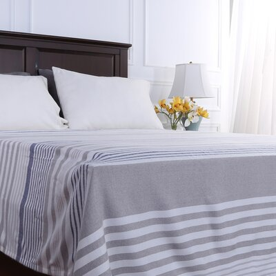 Statement Stripe Woven Blanket Size: King, Color: Navy/Gray
