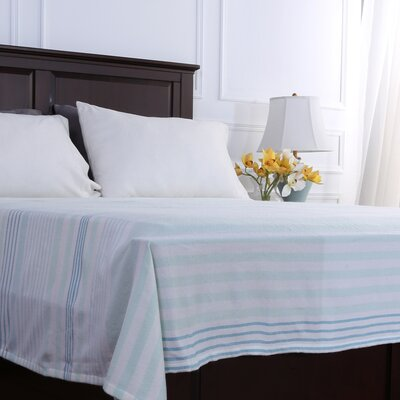 Statement Stripe Woven Blanket Size: Full/Queen, Color: Tonal Teal