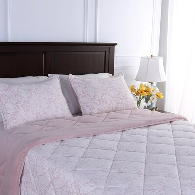 Suedemink� Reverse to PrimaLush� Down Alternative Quilt and Sham Set Size: King, Color: Just Peachy