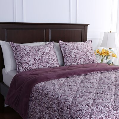 Suedemink� Reverse to PrimaLush� Down Alternative Quilt and Sham Set Size: King, Color: Mobile