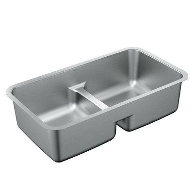 1800 Series 32 x 18 Stainless Steel 18 Gauge Double Bowl Kitchen Sink