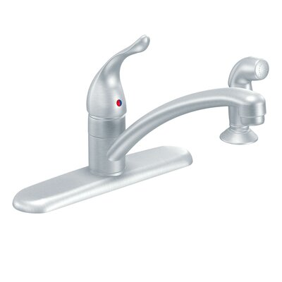 Chateau Single Handle Kitchen Faucet with Side Spray Finish: Brushed Chrome