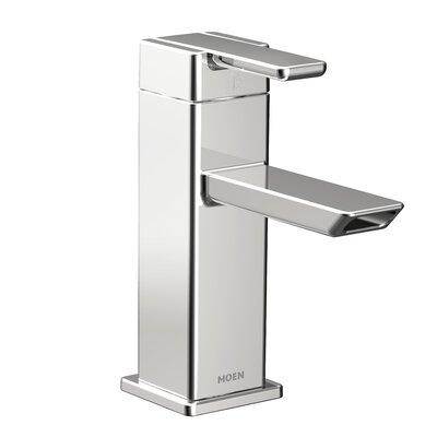 90 Degree Single Handle Single Hole Low Arc Bathroom Faucet with Drain Finish: Chrome