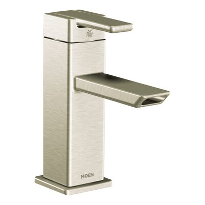 90 Degree Single Handle Single Hole Low Arc Bathroom Faucet with Drain Finish: Brushed Nickel