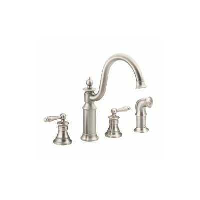 Waterhill Double Handle Kitchen Faucet with Side Spray