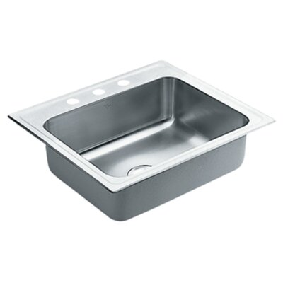 Commercial 24.38 x 21.38 18 Gauge Single Bowl Kitchen Sink