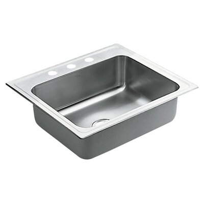 Commercial Stainless Steel 3 Hole Single Bowl 25 x 22 Drop-In Kitchen Sink with QuickMount Hardware