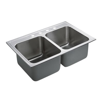 Commercial Stainless Steel 4 Hole Double Bowl 33 x 22 Drop-In Kitchen Sink with QuickMount Hardware