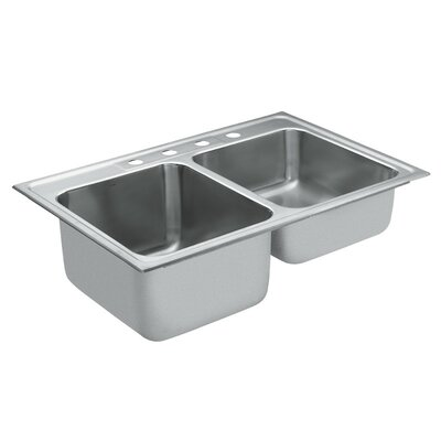 Commercial Stainless Steel 3 Hole Double Bowl 33 x 22 Drop-In Kitchen Sink with QuickMount Hardware