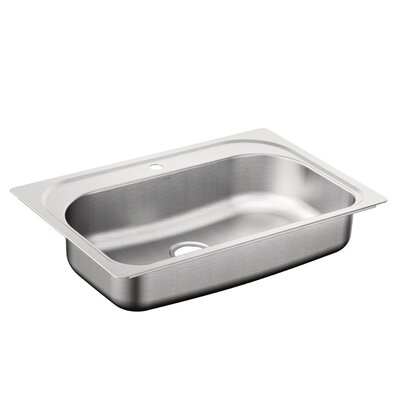 1800 Series Stainless Steel Single Bowl 33 x 22 Drop-In Kitchen Sink with QuickMount Hardware