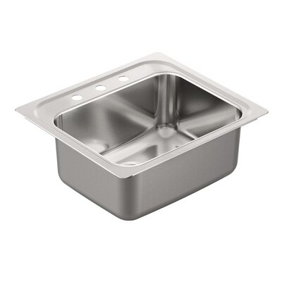 1800 Series Stainless Steel Single Bowl 25 x 22 Drop-In Kitchen Sink with QuickMount Hardware Faucet Drillings: 3 hole