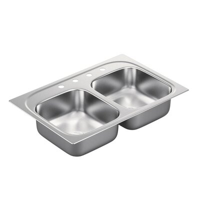 1800 Series Stainless Steel 4 Hole Double Bowl 33 x 22 x 7 Drop-In Kitchen Sink with QuickMount Hardware