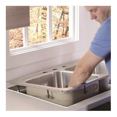 1800 Series Stainless Steel Double Bowl 33 x 22 Drop-In Kitchen Sink with QuickMount Hardware Faucet Drillings: 3 hole