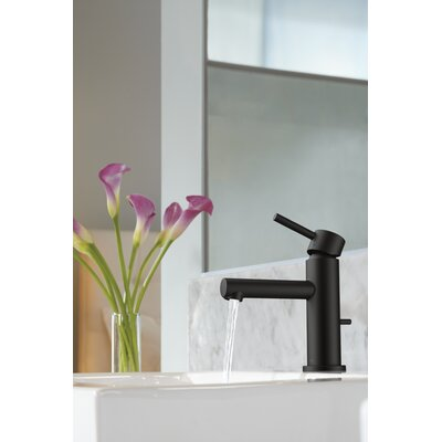 Align Single Handle Single Hole Bathroom Faucet with Drain Finish: Matte Black