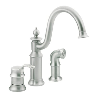Waterhill Single Handle Kitchen Faucet with Side Spray Finish: Classic Stainless