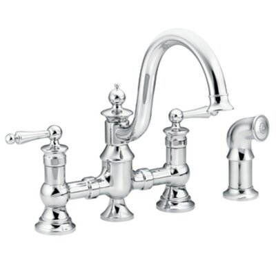Waterhill Double Handle Widespread  Kitchen Faucet with Convenient Side Spray Finish: Chrome