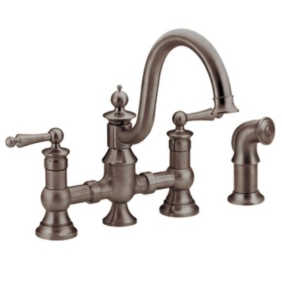 Waterhill Double Handle Widespread  Kitchen Faucet with Convenient Side Spray Finish: Oil Rubbed Bronze