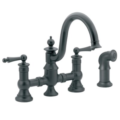 Waterhill Bridge Faucet with Side Spray Finish: Wrought Iron