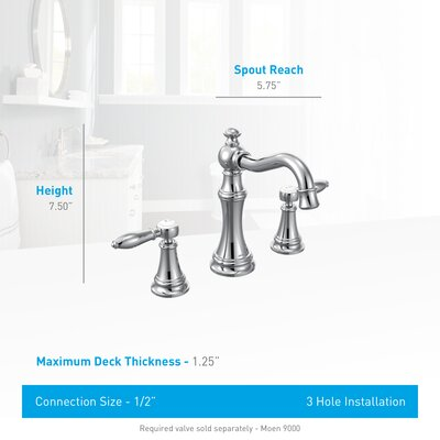 Weymouth Double Handle Widespread High Arc Bathroom Faucet with Optional Drain Finish: Oil Rubbed Bronze, Flow Rate: 1.75 GPM