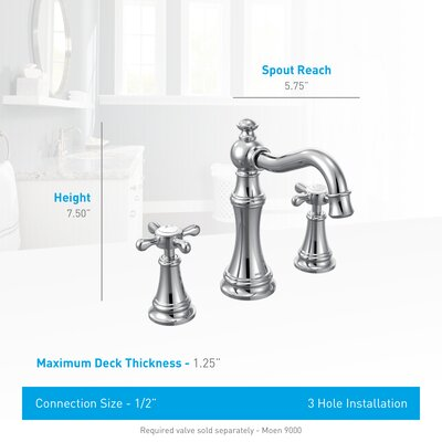 Weymouth Double Handle Widespread High Arc Bathroom Faucet with Optional Pop-Up Drain Finish: Chrome, Flow Rate: 1.2 GPM