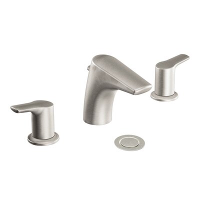 Method Double Handle Widespread Low Arc Bathroom Faucet with Optional Pop-Up Drain Finish: Brushed Nickel