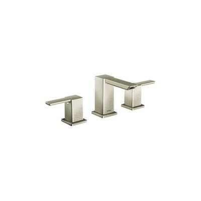 90 Degree Double Handle Widespread Bathroom Faucet with Optional Pop-Up Drain Finish: Brushed Nickel