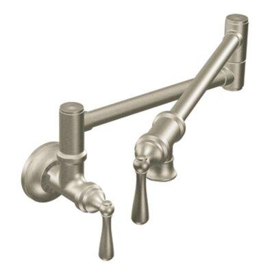 Pot Filler  Double Handle Wall Mounted Pot Filler Faucet Finish: Spot Resist Stainless