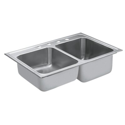 Commercial 33 x 22 Double Bowl Drop-In Kitchen Sink