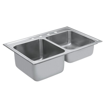 Commercial 33 x 22 18 Gauge Double Bowl Kitchen Sink