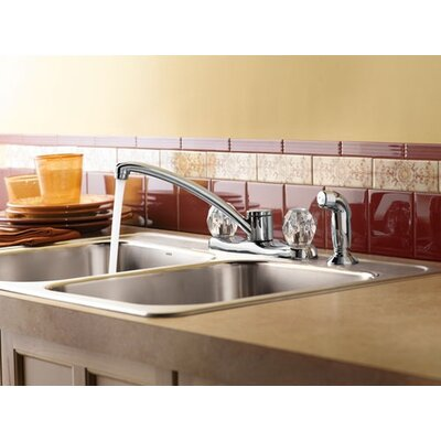 Chateau Double Handle Centerset Kitchen Faucet with White Side Spray
