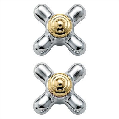 Monticello Small Cross Handle Inserts Finish: Chrome/Polished Brass