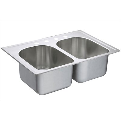 Lancelot 33 x 22 Equal Double Bowl Deep Drop-In Kitchen Sink