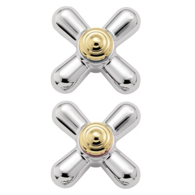 Monticello Large Cross Handle Inserts Finish: Chrome/Polished Brass