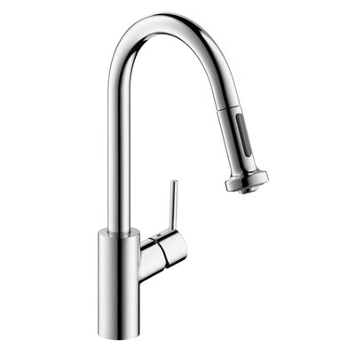 Talis S 2 One Handle Deck Mounted Kitchen Faucet with Full and Needle Sprays Finish: Chrome