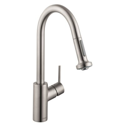 Talis S One Handle Deck Mounted Kitchen Faucet with Pull Down 2 Sprayer Finish: Steel Optik