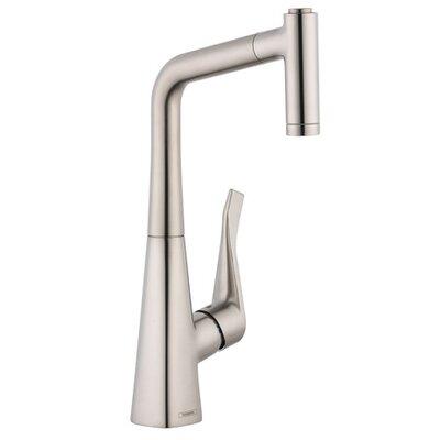 Metris Single Handle Kitchen Faucet Finish: Steel Optik