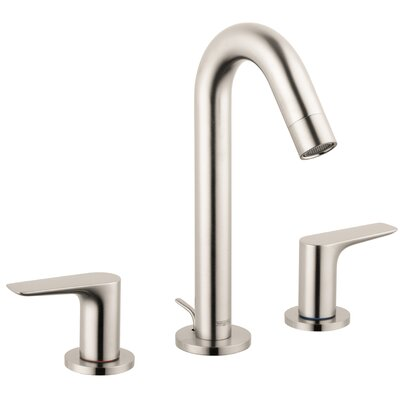 Logis Widespread Faucet Double Handle with Drain Assembly Finish: Brushed Nickel