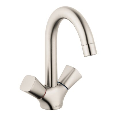 Logis Faucet Double Handle with Drain Assembly Finish: Brushed Nickel