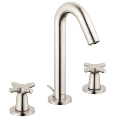 Logis Classic Widespread Faucet Double Handle with Drain Assembly Finish: Brushed Nickel