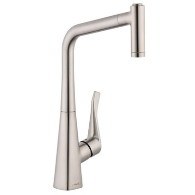 Metris Pull Out Single Handle Kitchen Faucet Finish: Steel Optik