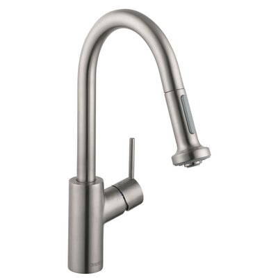 Talis S Pull Down Single Handle Kitchen Faucet Finish: Steel Optik