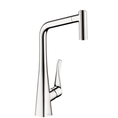 Metris Pull Out Single Handle Kitchen Faucet Finish: Chrome