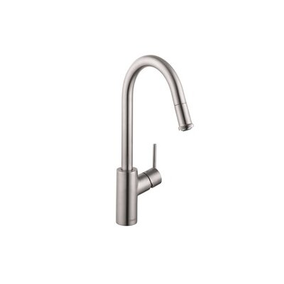Talis S Pull Out Single Handle Kitchen Faucet Finish: Steel Optik