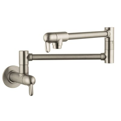 Allegro E Two Handle Wall Mounted Pot Filler Finish: Steel Optik