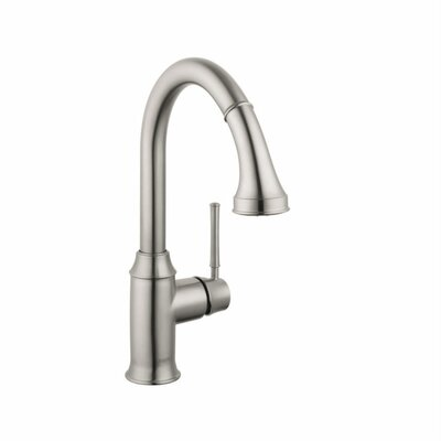 Talis C High Arc One Handle Deck Mounted Kitchen Faucet with Pull Down 2 Spray Finish: Steel Optik, Flow Rate: 1.5 GPM