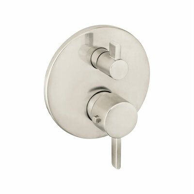 S Thermostatic Volume Control and Diverter Faucet Trim with Lever Handle Finish: Brushed Nickel