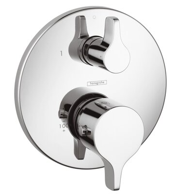Thermostatic Volume Control and Diverter Faucet Trim with Lever Handle Finish: Chrome