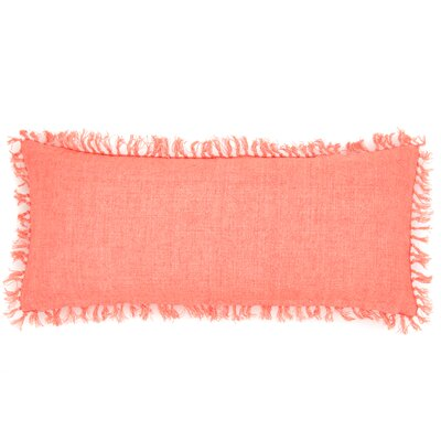 Laundered Linen Lumbar Pillow Color: Coral