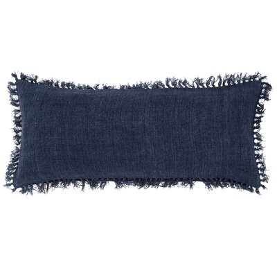 Laundered Linen Lumbar Pillow Color: Indigo